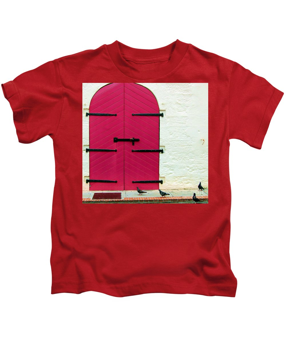 Birds Kids T-Shirt featuring the photograph Pigeon Pink by Debbi Granruth