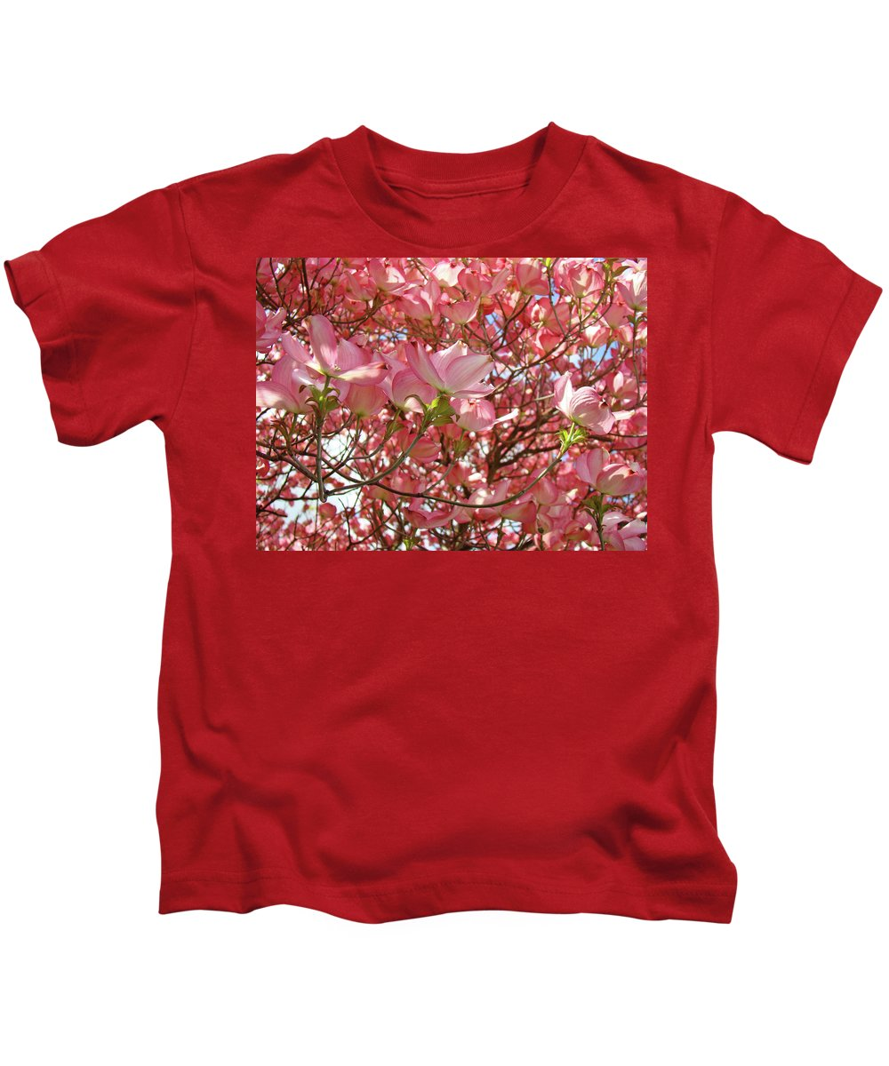 Dogwood Kids T-Shirt featuring the photograph Pink Dogwood Flowering Tree Art Prints Canvas Baslee Troutman by Baslee Troutman