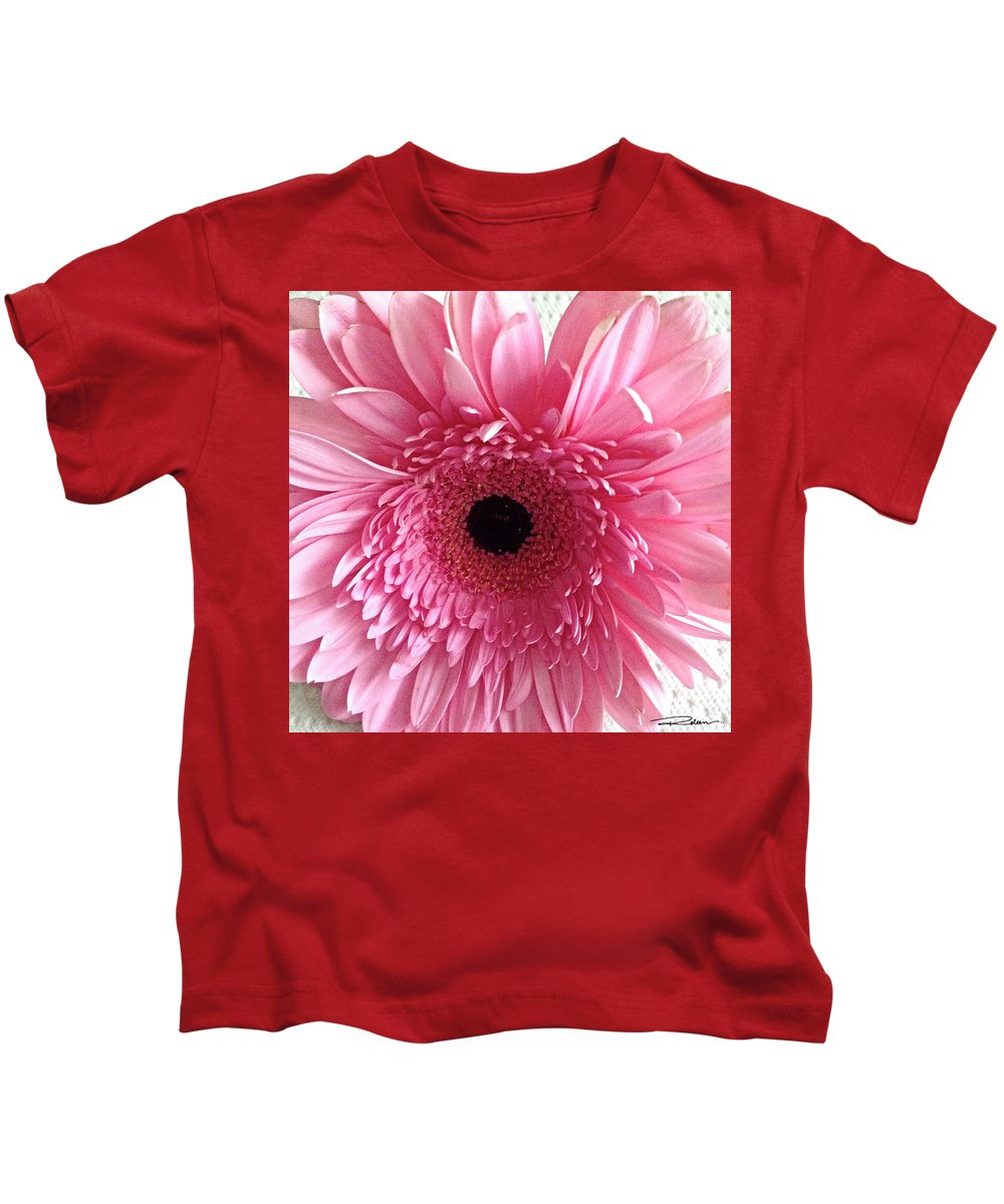 Pink Daisy Kids T-Shirt featuring the pyrography Pink Gerbera by Roleen Senic