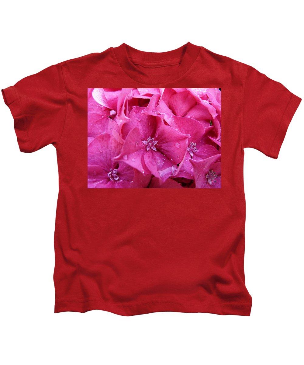 Flower Kids T-Shirt featuring the photograph Pink Hydrangea After Rain by Valerie Ornstein