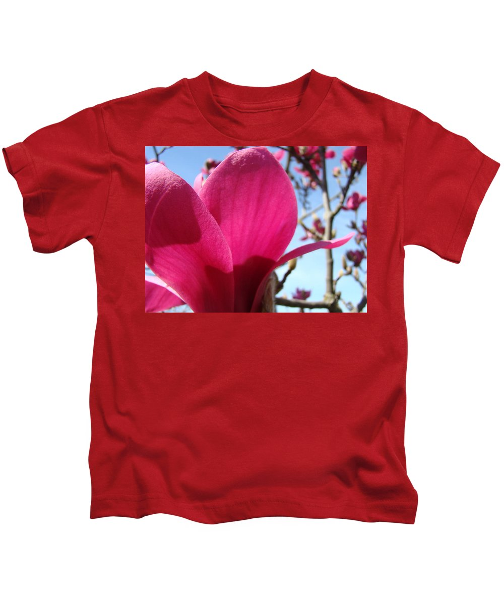 Magnolia Kids T-Shirt featuring the photograph Pink Magnolia Flowers Magnolia Tree Spring Art by Baslee Troutman