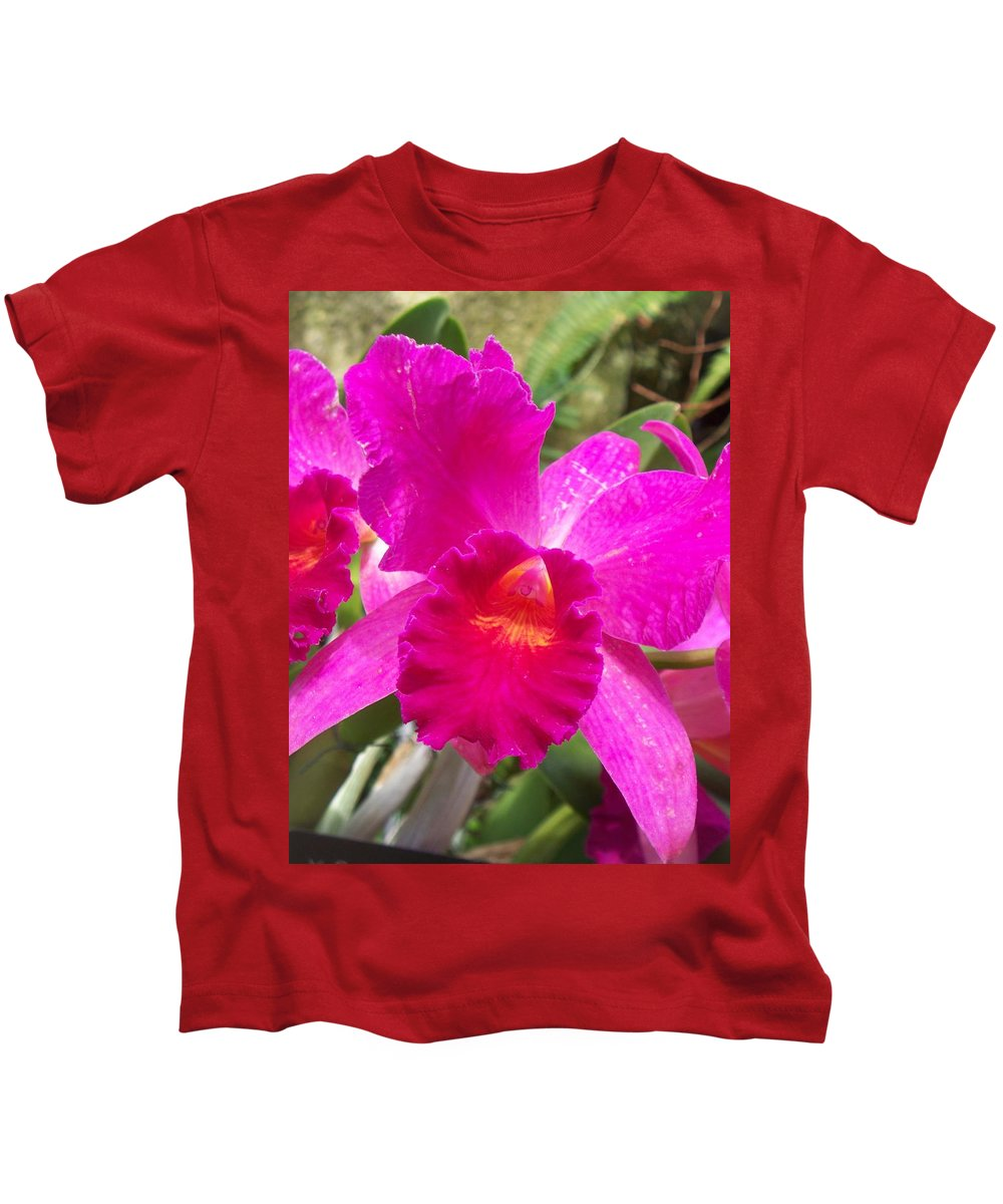 Pink Orchid Kids T-Shirt featuring the painting Pink Orchid by Eric Schiabor