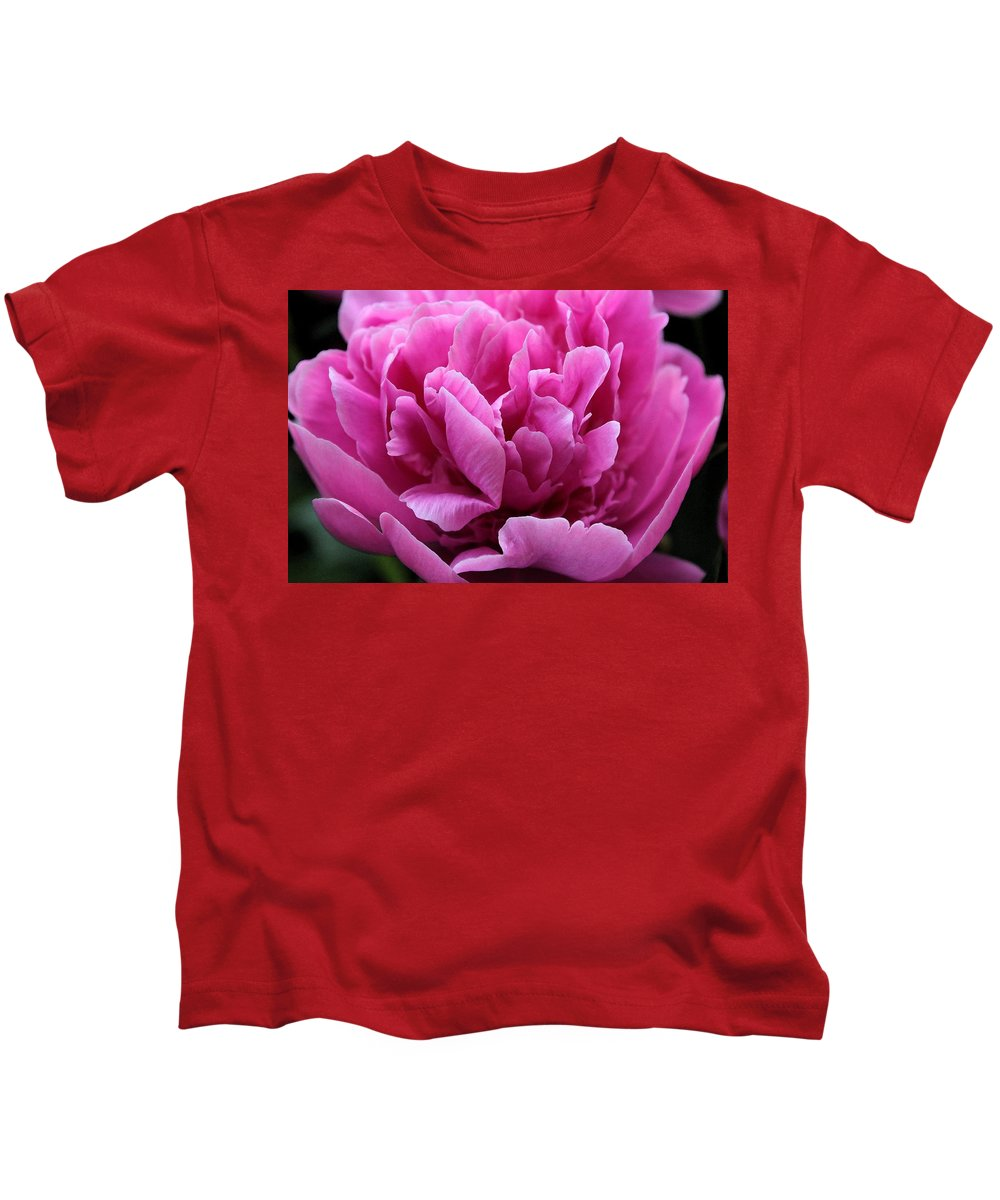 Pink Kids T-Shirt featuring the photograph Pink Peony Watercolor by Carolyn Jacob