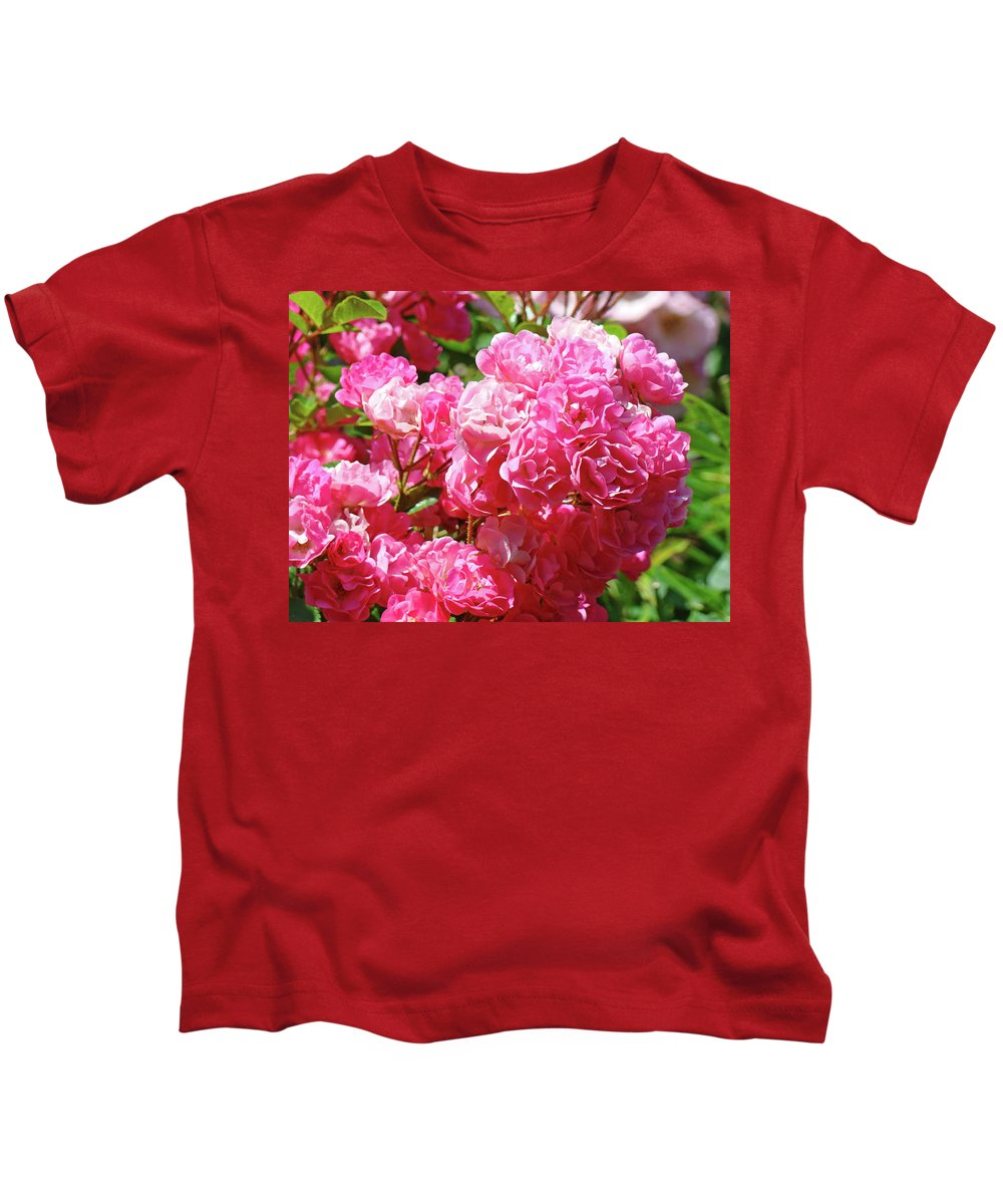 Rose Kids T-Shirt featuring the photograph Pink Roses Summer Rose Garden Roses Giclee Art Prints Baslee Troutman by Baslee Troutman
