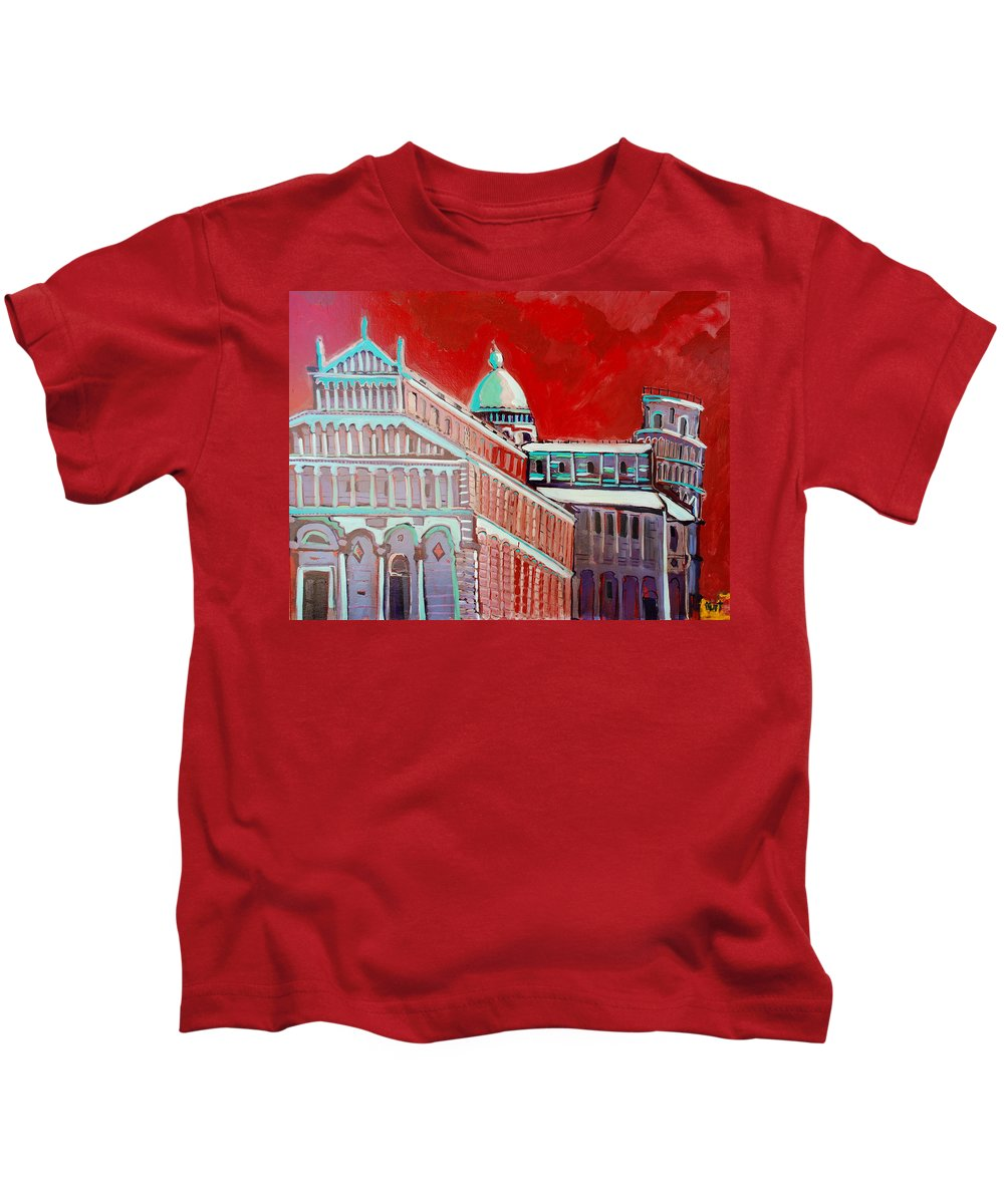Pisa Kids T-Shirt featuring the painting Pisa by Kurt Hausmann