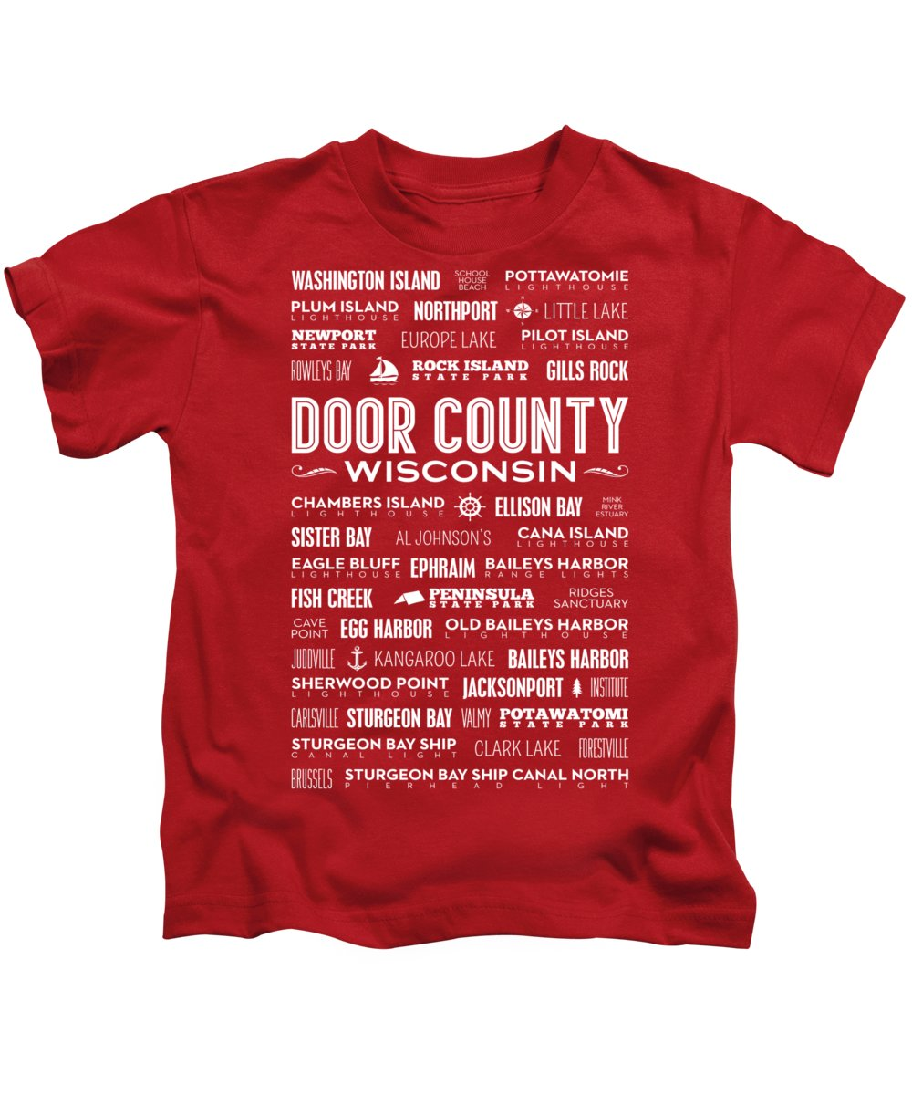 Door County Kids T-Shirt featuring the digital art Places of Door County on Red by Christopher Arndt