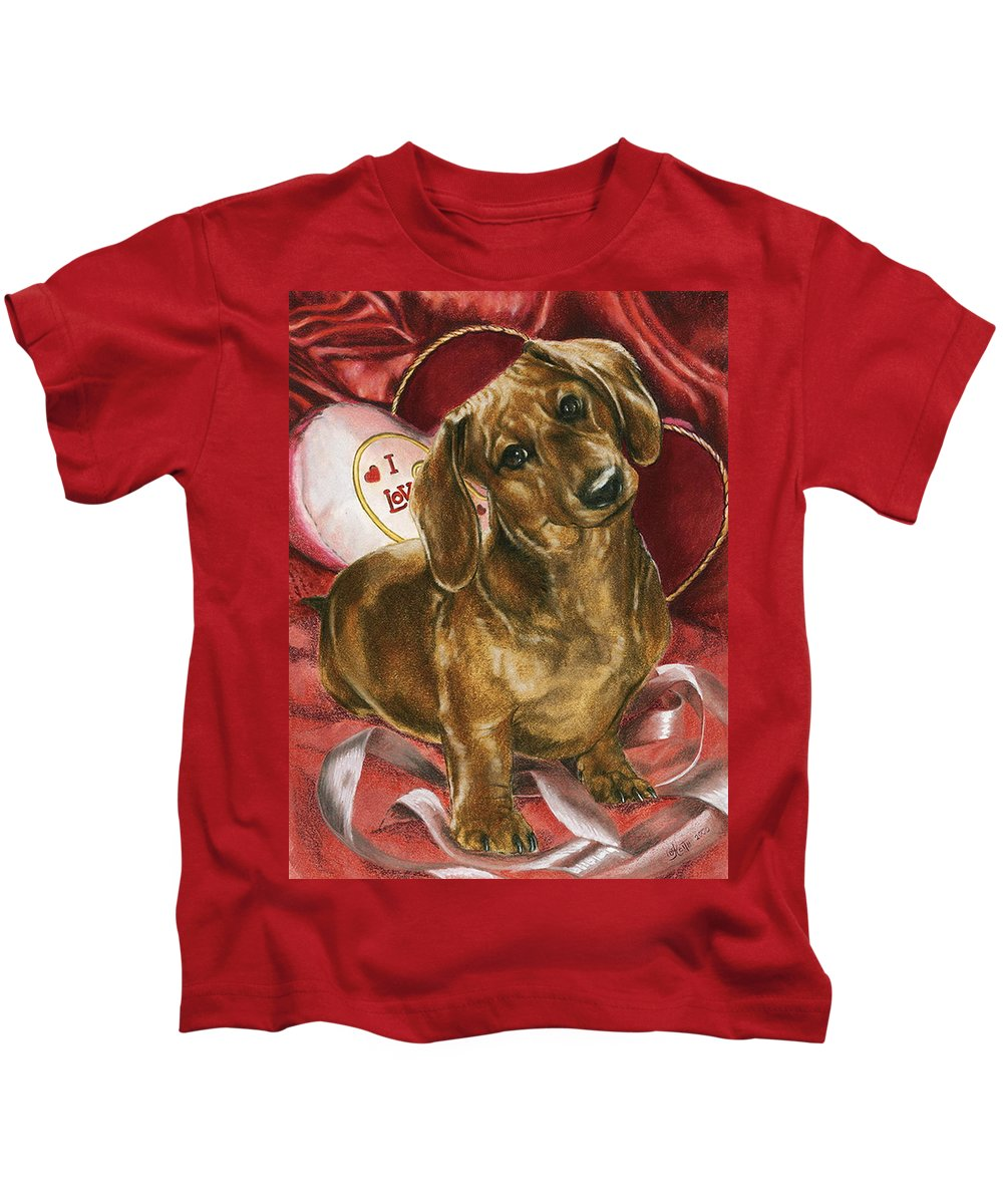 Purebred Kids T-Shirt featuring the mixed media Be Mine by Barbara Keith