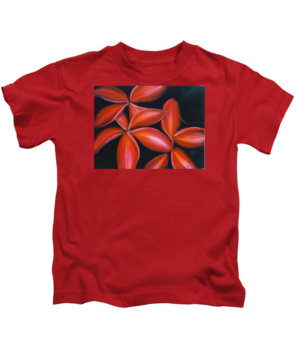 Floral Kids T-Shirt featuring the painting Plumeria Rouge by Dina Holland