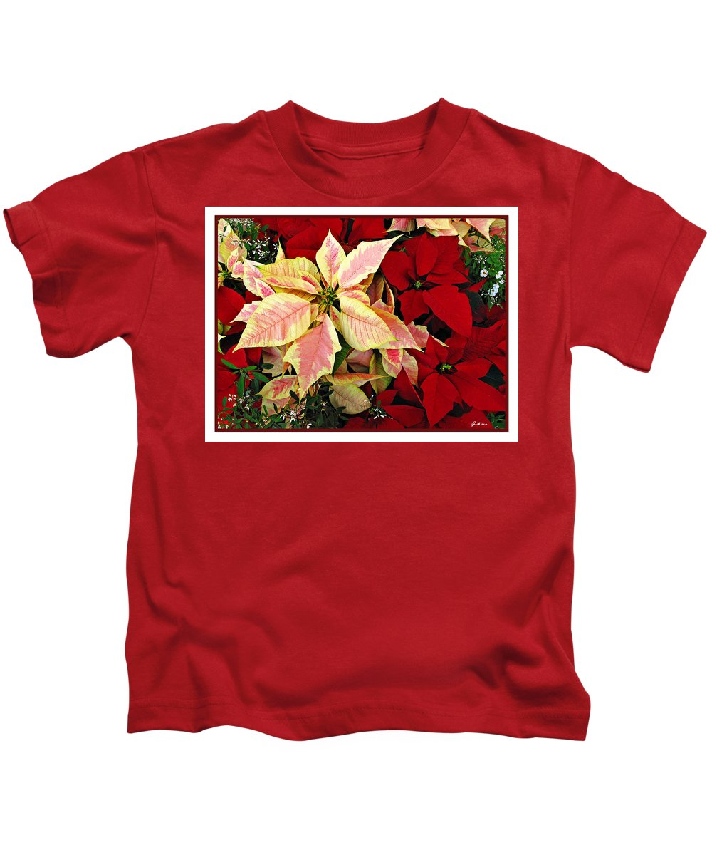 Poinsetta Kids T-Shirt featuring the photograph Poinsetta Greetings by Joan Minchak