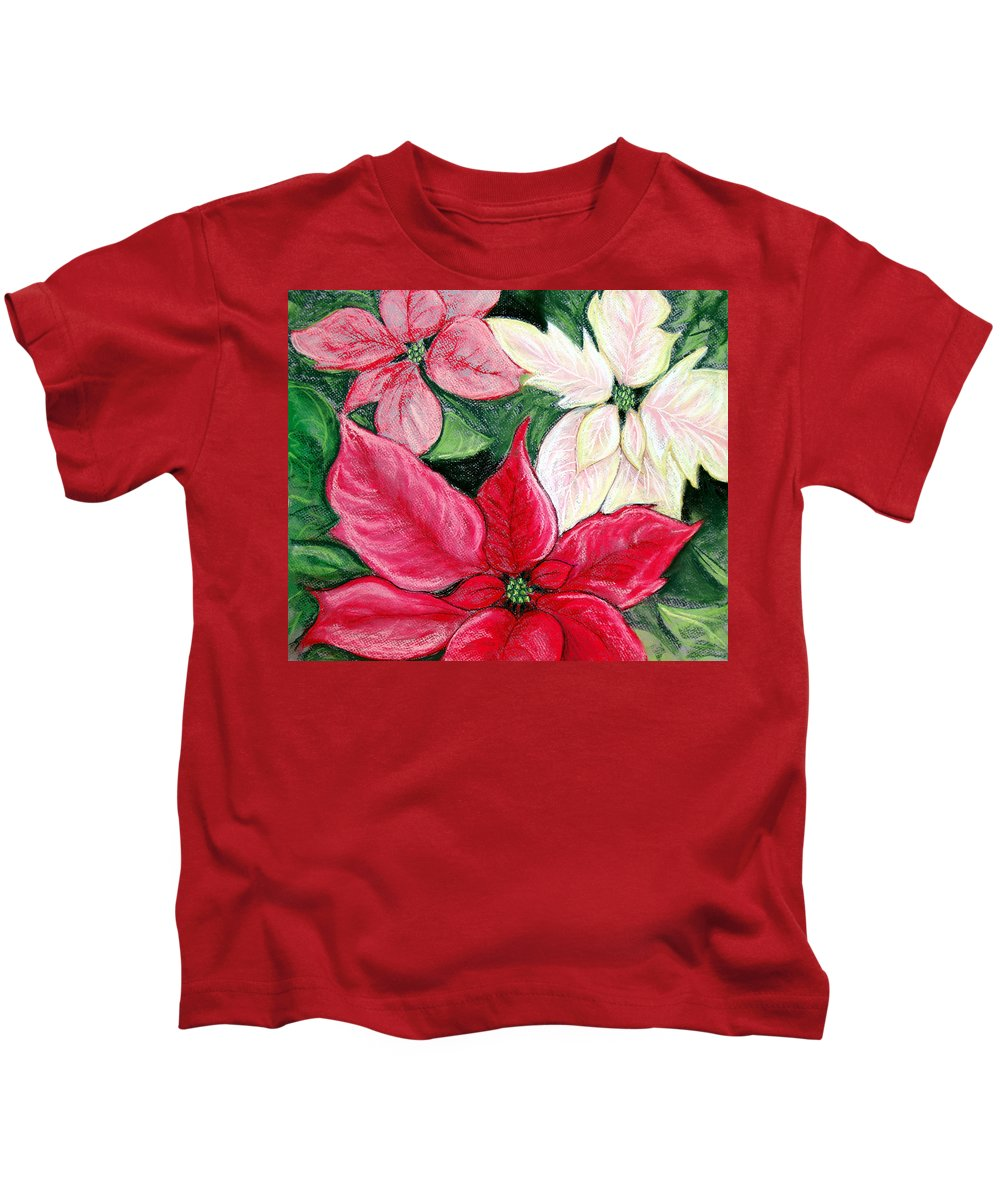 Poinsettia Kids T-Shirt featuring the pastel Poinsettia Pastel by Nancy Mueller