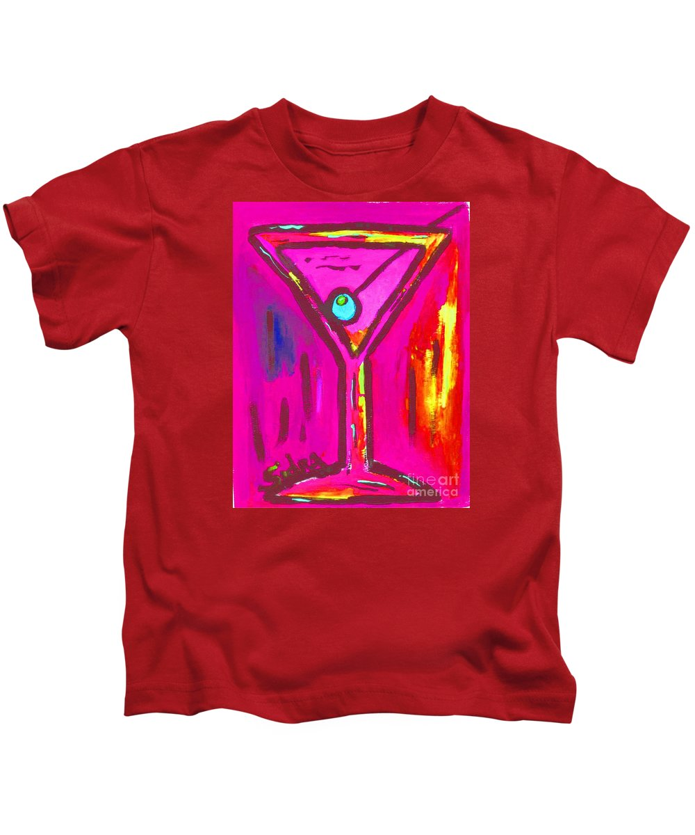 Martini Kids T-Shirt featuring the painting Pop Art Martini Pink Neon Series 1989 by Sidra Myers