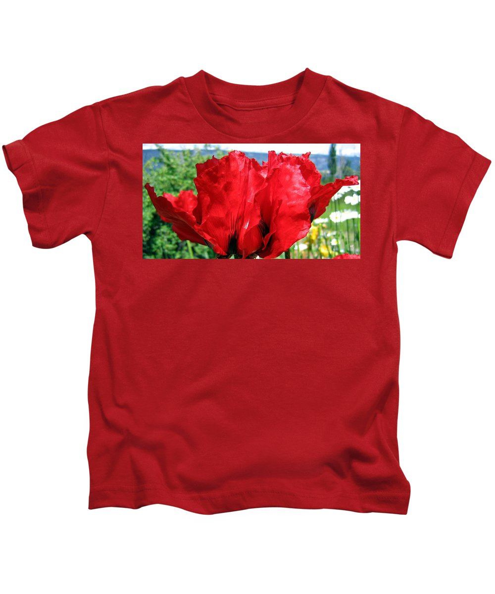Poppies Kids T-Shirt featuring the photograph Poppies Plus by Will Borden