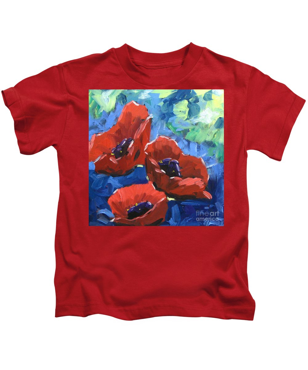 Art Kids T-Shirt featuring the painting Poppies Splender by Richard T Pranke