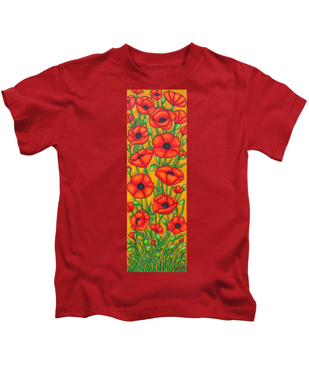 Poppies Kids T-Shirt featuring the painting Poppies Under The Tuscan Sun by Lisa Lorenz