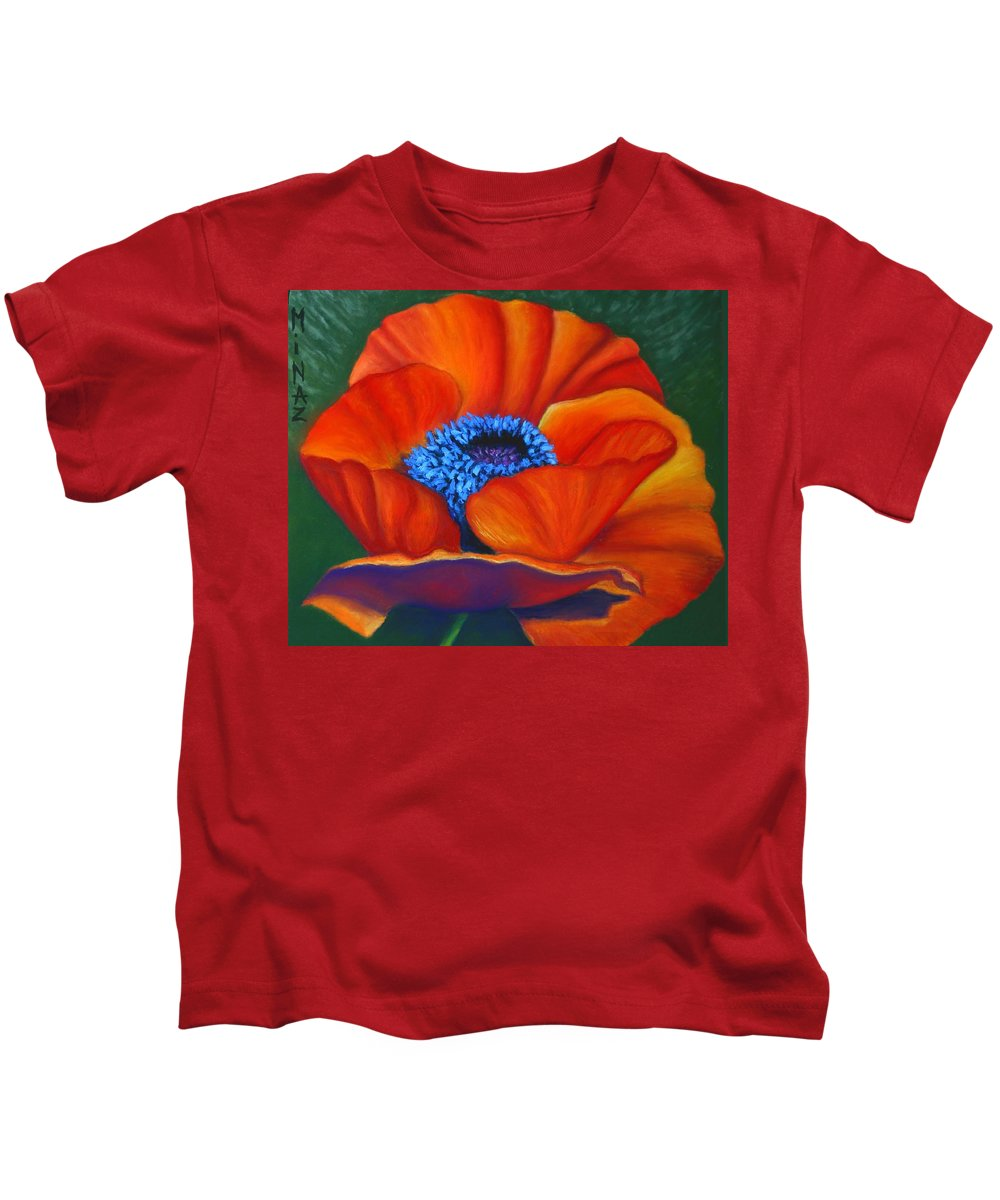 Red Flower Kids T-Shirt featuring the painting Poppy Pleasure by Minaz Jantz