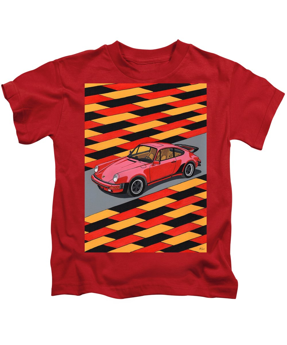 Car Kids T-Shirt featuring the painting Porsche 911 Turbo by Paul Cockram