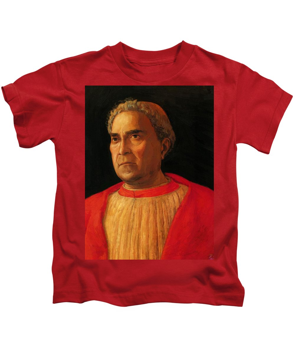 Portrait Kids T-Shirt featuring the painting Portrait Of Cardinal Lodovico Mezzarota 1459 by Mantegna Andrea