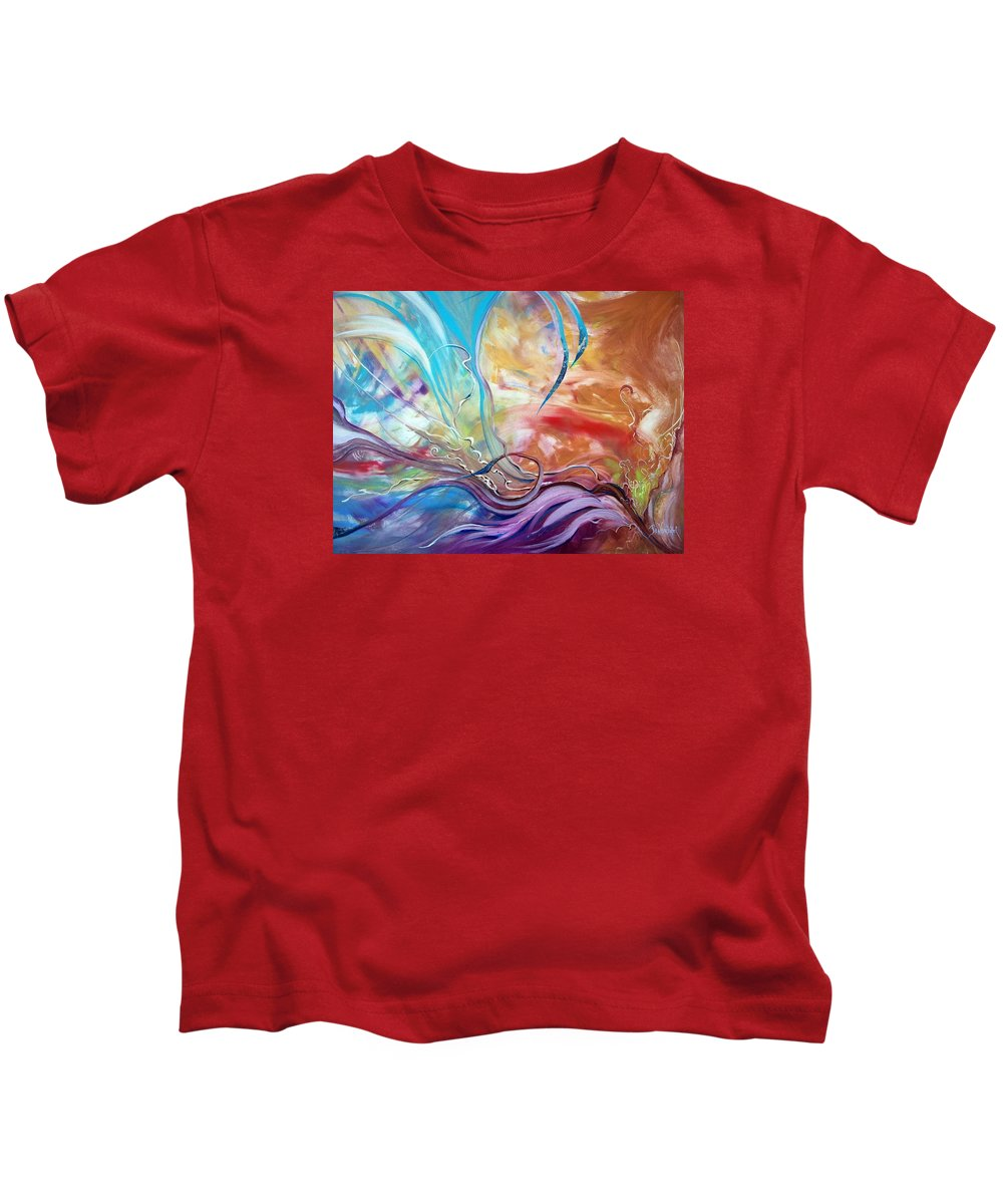 Large Abstract Gallery Wrapped Vibrant Energetic Stokes Kids T-Shirt featuring the painting Power Of Now by Jan VonBokel