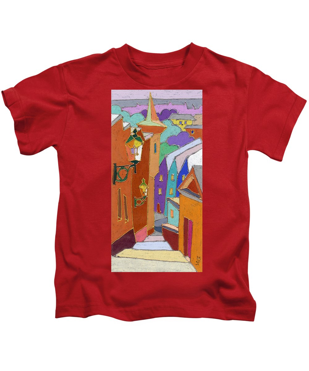 Pastel Kids T-Shirt featuring the painting Prague Old Steps Winter by Yuriy Shevchuk