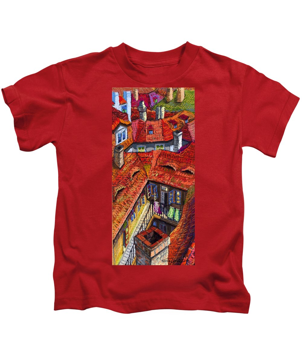 Pastel Kids T-Shirt featuring the painting Prague Roofs 01 by Yuriy Shevchuk