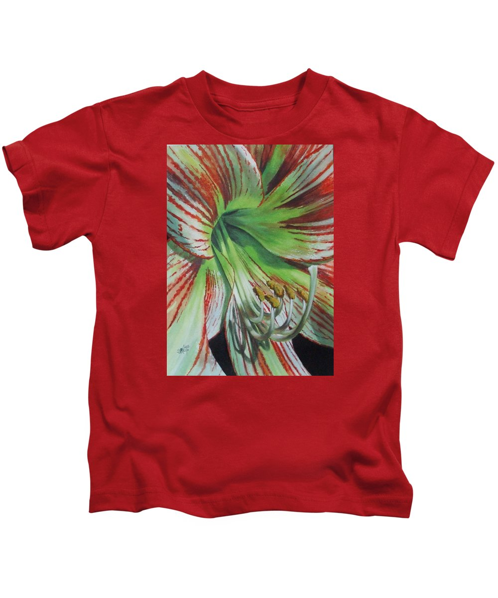 Amaryllis Kids T-Shirt featuring the painting Precious by Barbara Keith