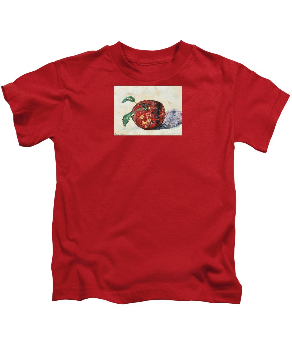 Apples Kids T-Shirt featuring the painting Pretty Apple by Reina Resto