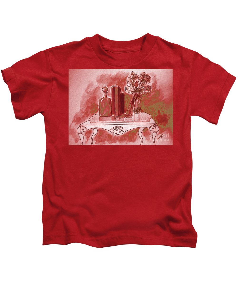 Tablescape Kids T-Shirt featuring the painting Pretty In Red by Jayne Somogy