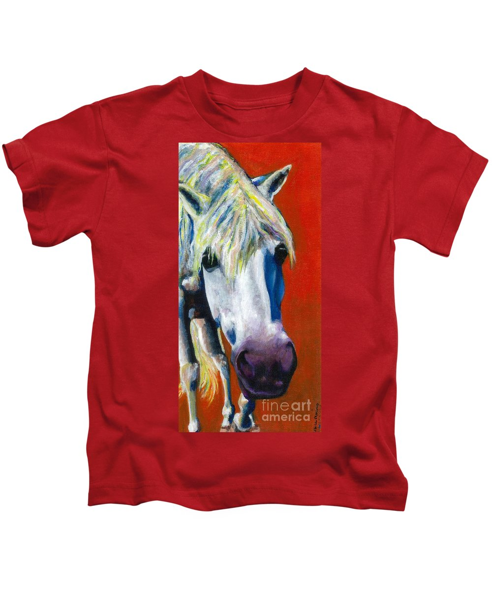 White Horse With Purple Nose Kids T-Shirt featuring the painting Purple Velvet by Frances Marino