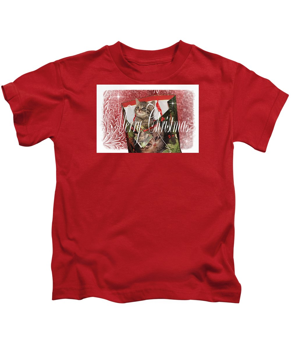 Recent Kids T-Shirt featuring the photograph Purr Fect Present by Geraldine Scull