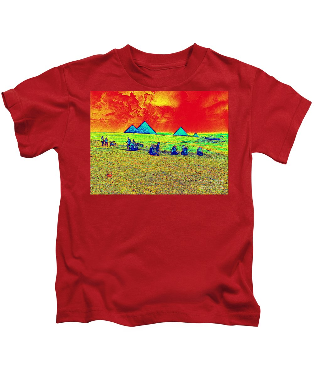 Pyramids Of Giza Egypt Camels Landscape Scenic Nature Kids T-Shirt featuring the digital art Pyramids Giza by Bruce Thompson