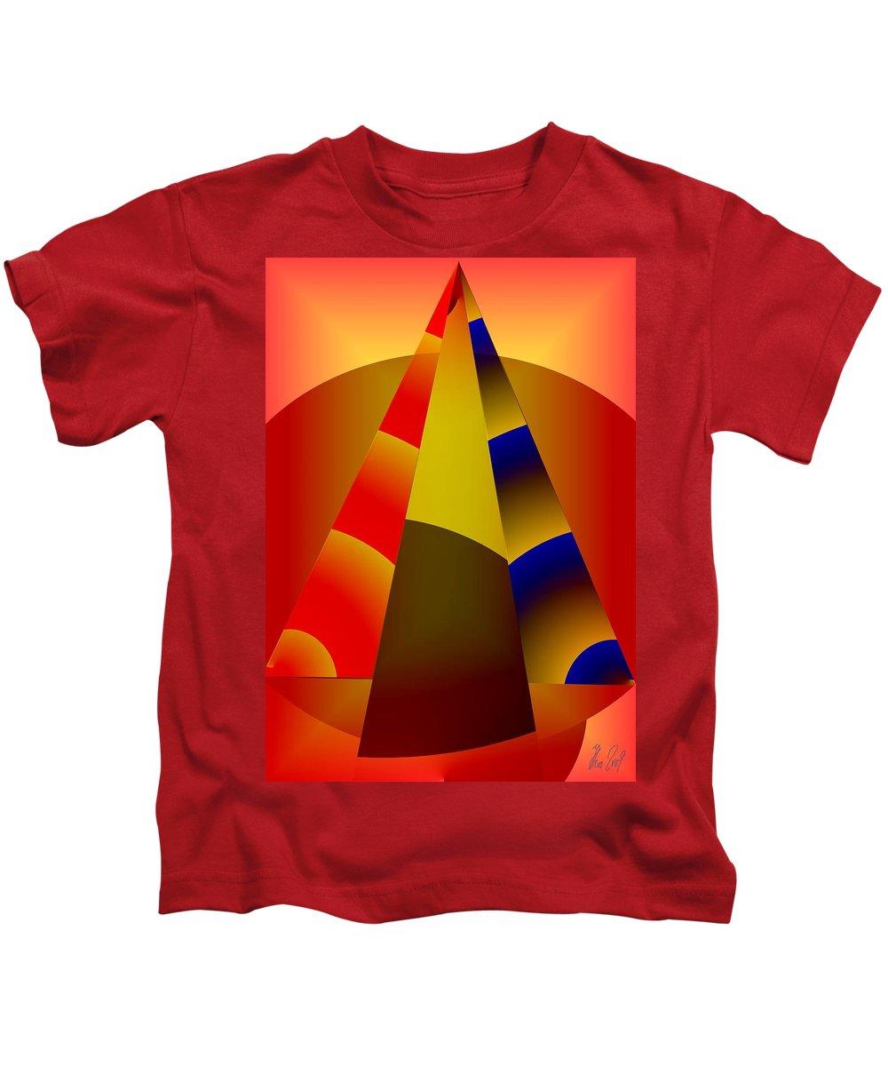 Pyramids Kids T-Shirt featuring the digital art Pyramids Pendulum by Helmut Rottler
