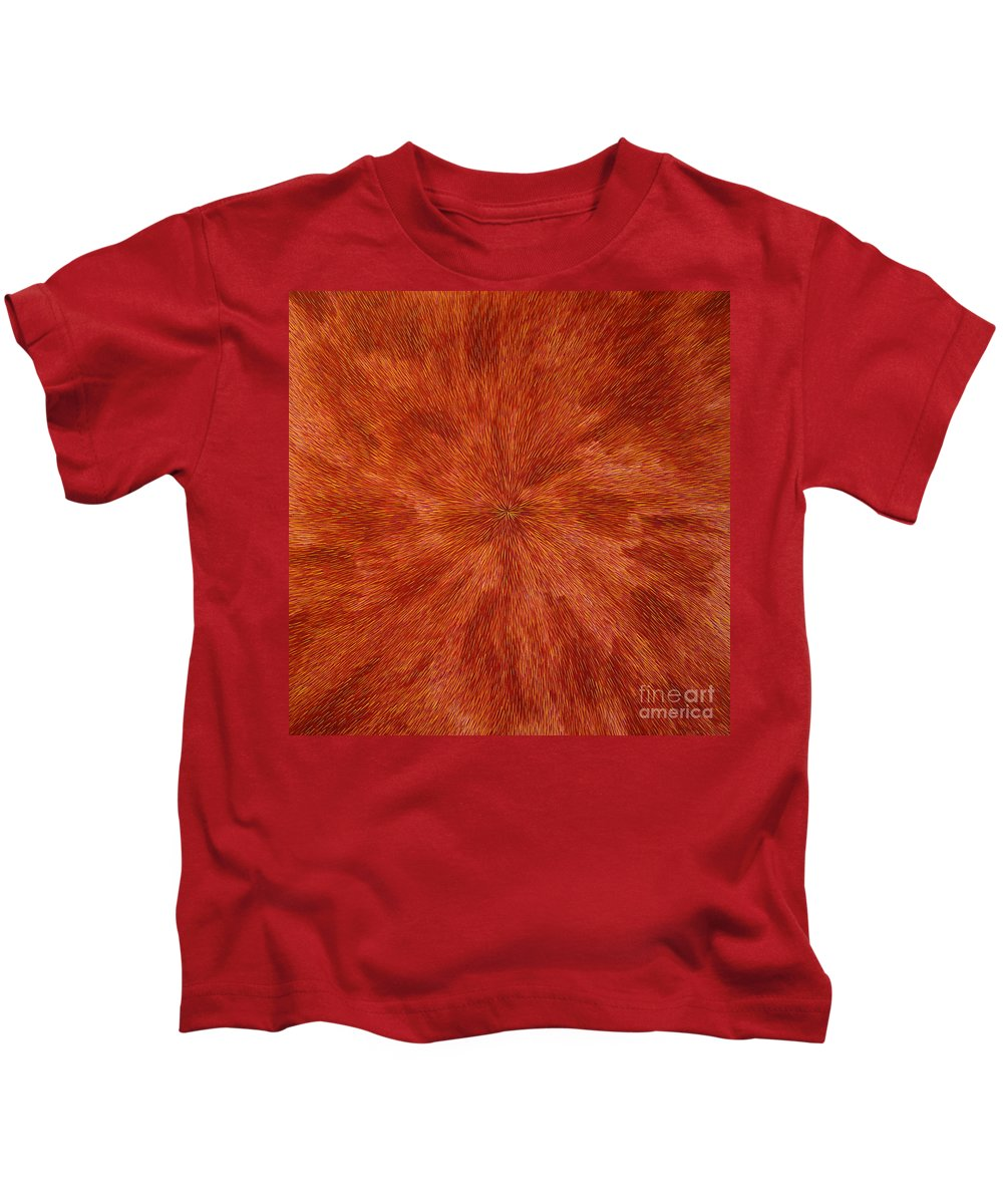 Abstract Kids T-Shirt featuring the painting Radiation With Brown Yellow And Voilet by Dean Triolo