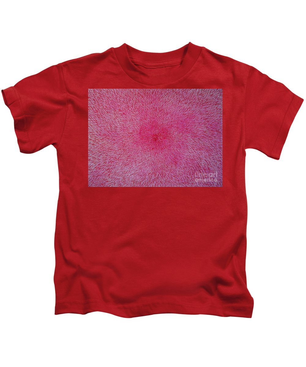 Abstract Kids T-Shirt featuring the painting Radiation With Pink And Magenta by Dean Triolo