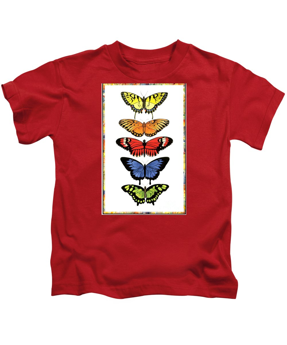 Butterflies Kids T-Shirt featuring the painting Rainbow Butterflies by Lucy Arnold