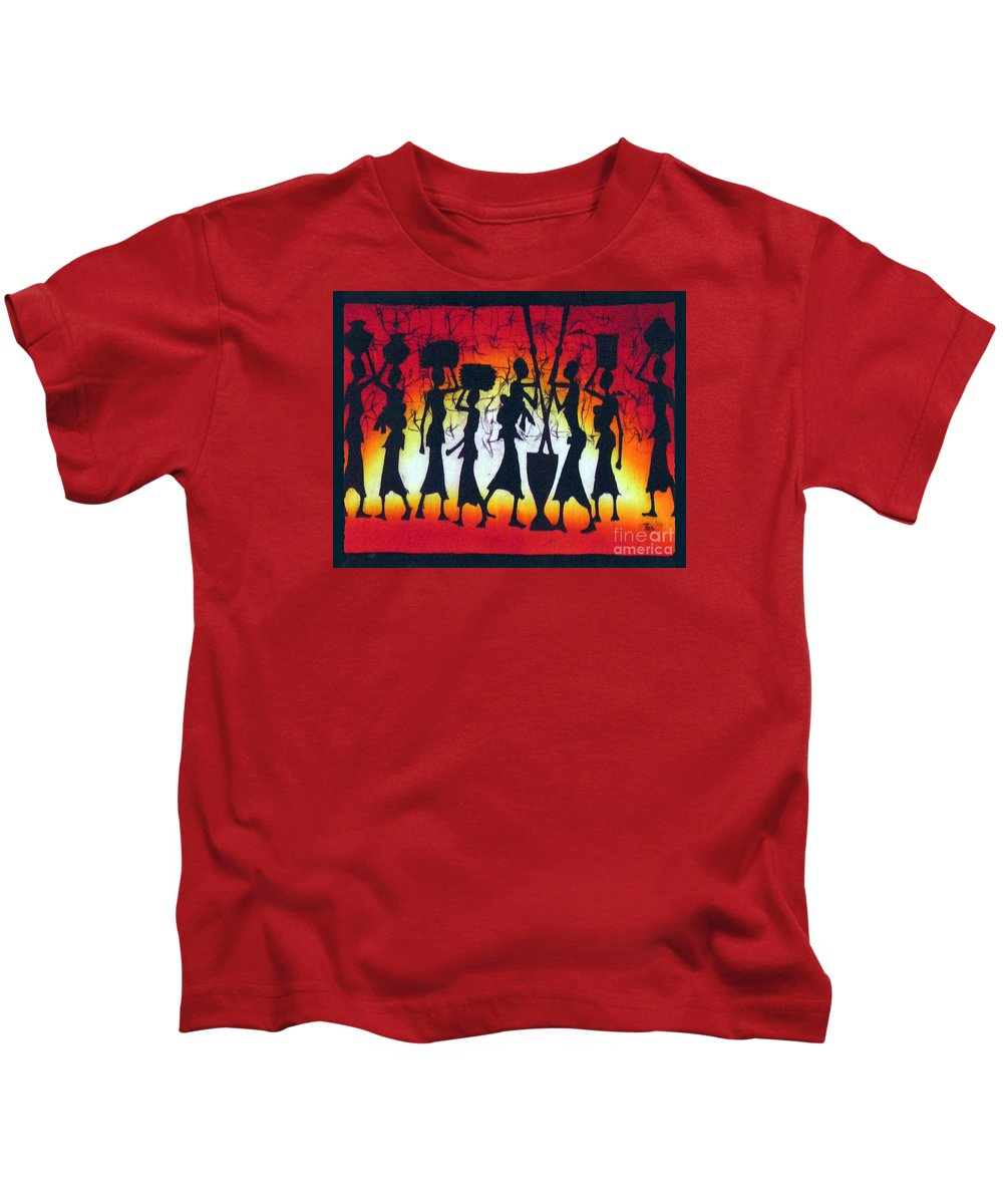 African Kids T-Shirt featuring the painting Rainbow Sunset by Ted Samuel Mkoweka