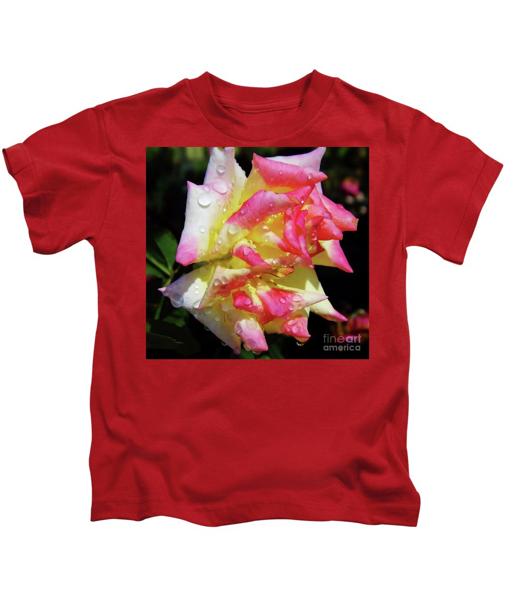 Roses Kids T-Shirt featuring the photograph Raindrops On A Rose by D Hackett