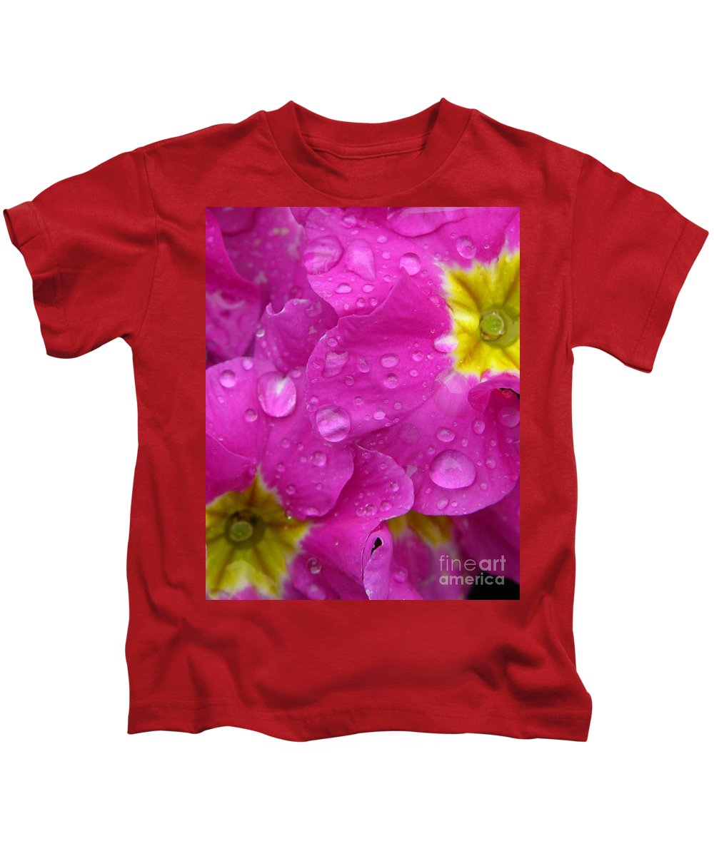 Pink Kids T-Shirt featuring the photograph Raindrops On Pink Flowers by Carol Groenen
