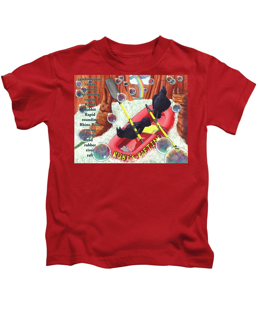 Raven Kids T-Shirt featuring the painting Rambunctious Ravens by Catherine G McElroy