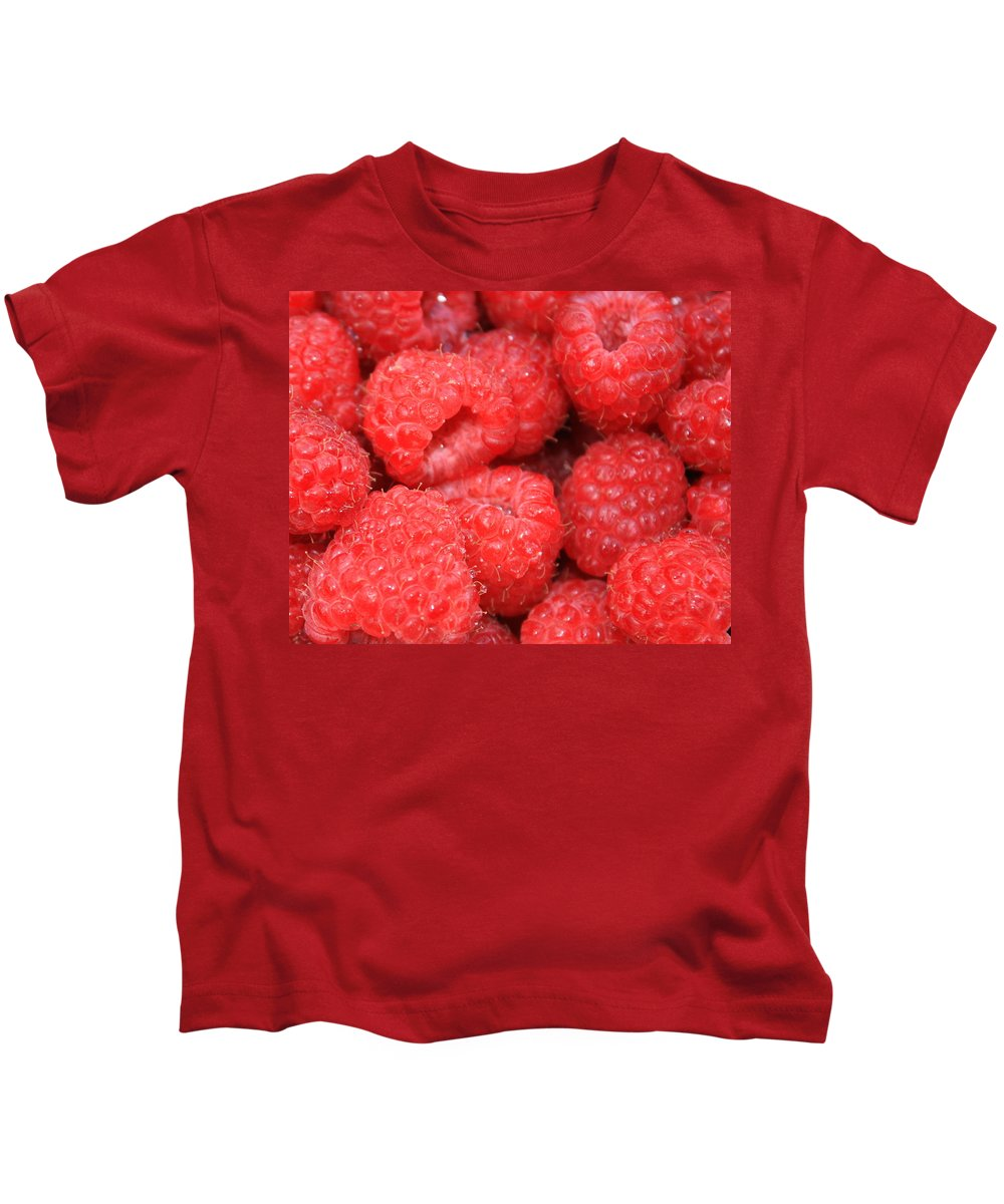 Food Kids T-Shirt featuring the photograph Raspberries Close-up by Carol Groenen