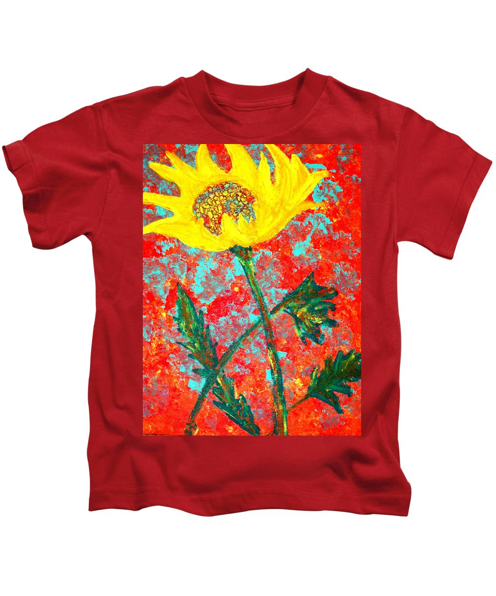 Flower Kids T-Shirt featuring the painting Reaching For The Sun by Wayne Potrafka