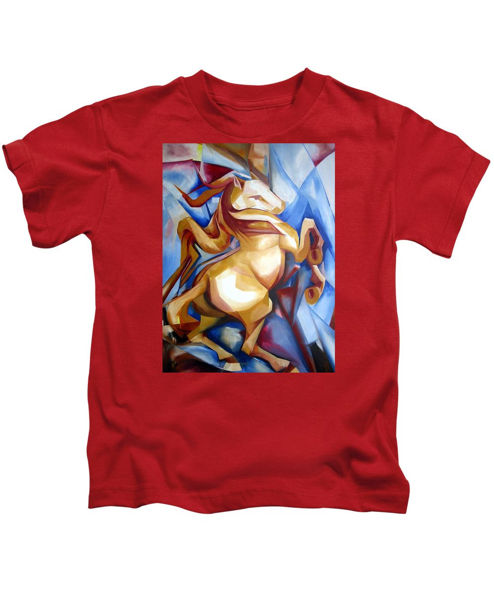 Horse Kids T-Shirt featuring the painting Rearing Horse by Leyla Munteanu