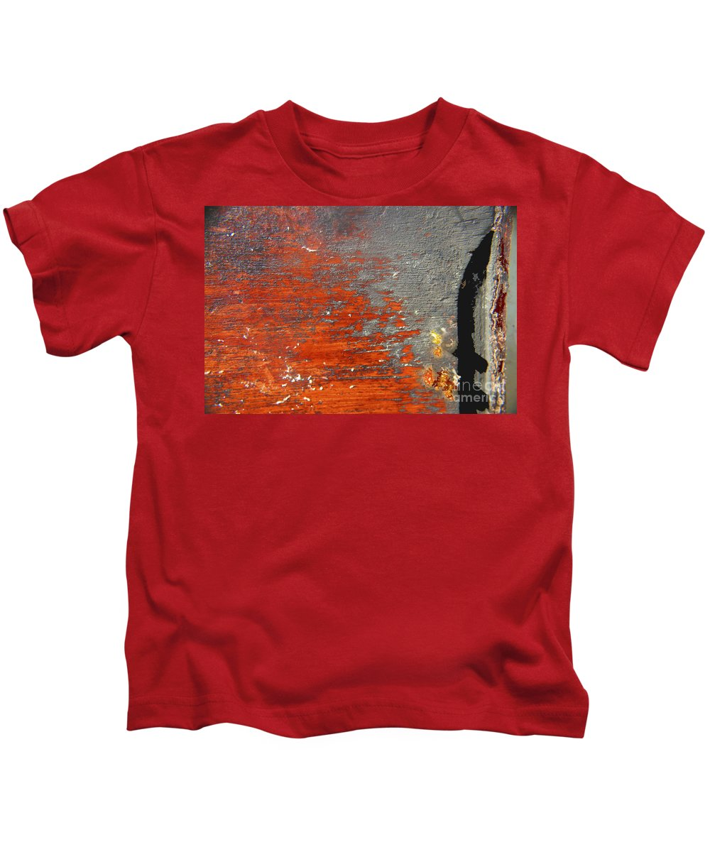 Red Kids T-Shirt featuring the photograph Red And Grey Abstract by Hana Shalom