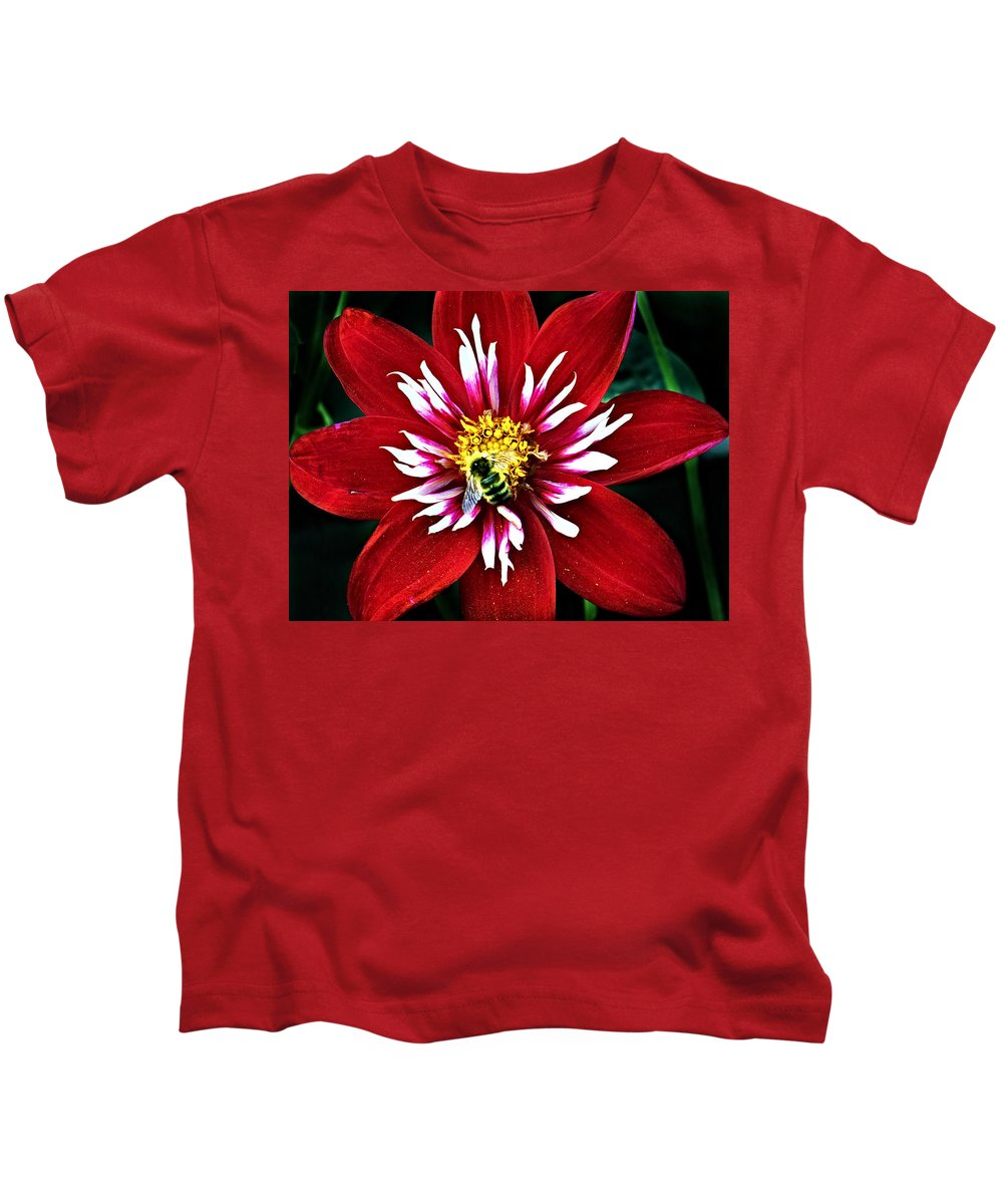 Flower Kids T-Shirt featuring the photograph Red And White Flower With Bee by Anthony Jones