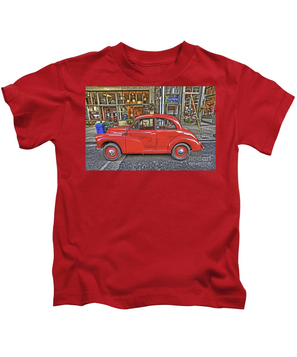 Morris Minor Kids T-Shirt featuring the photograph Red Morris Minor by Darrel Giesbrecht