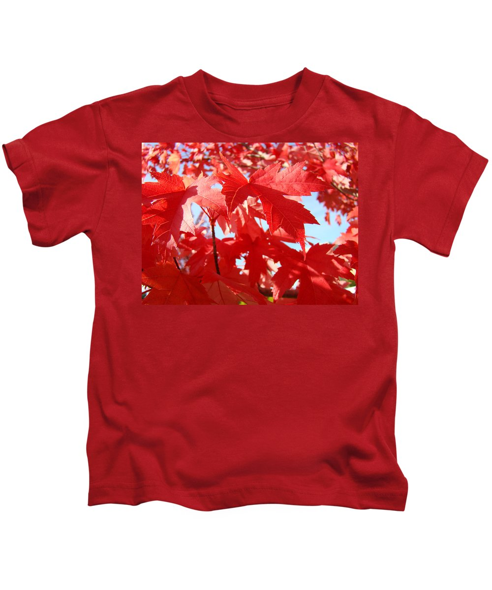 Autumn Kids T-Shirt featuring the photograph Red Autumn Leaves Art Prints Canvas Fall Leaves Baslee Troutman by Baslee Troutman
