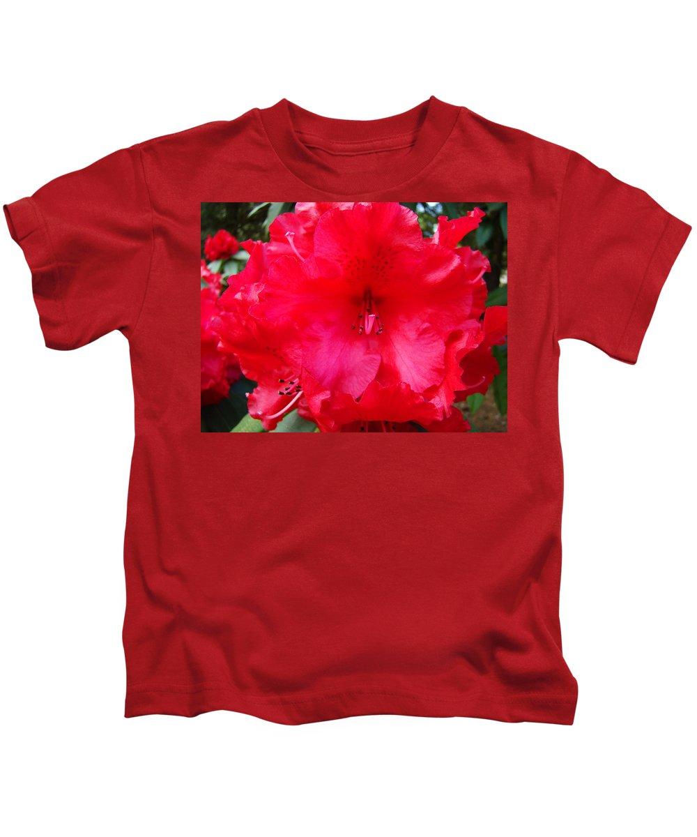 �azaleas Artwork� Kids T-Shirt featuring the photograph Red Azaleas Flowers 4 Red Azalea Garden Giclee Art Prints Baslee Troutman by Baslee Troutman
