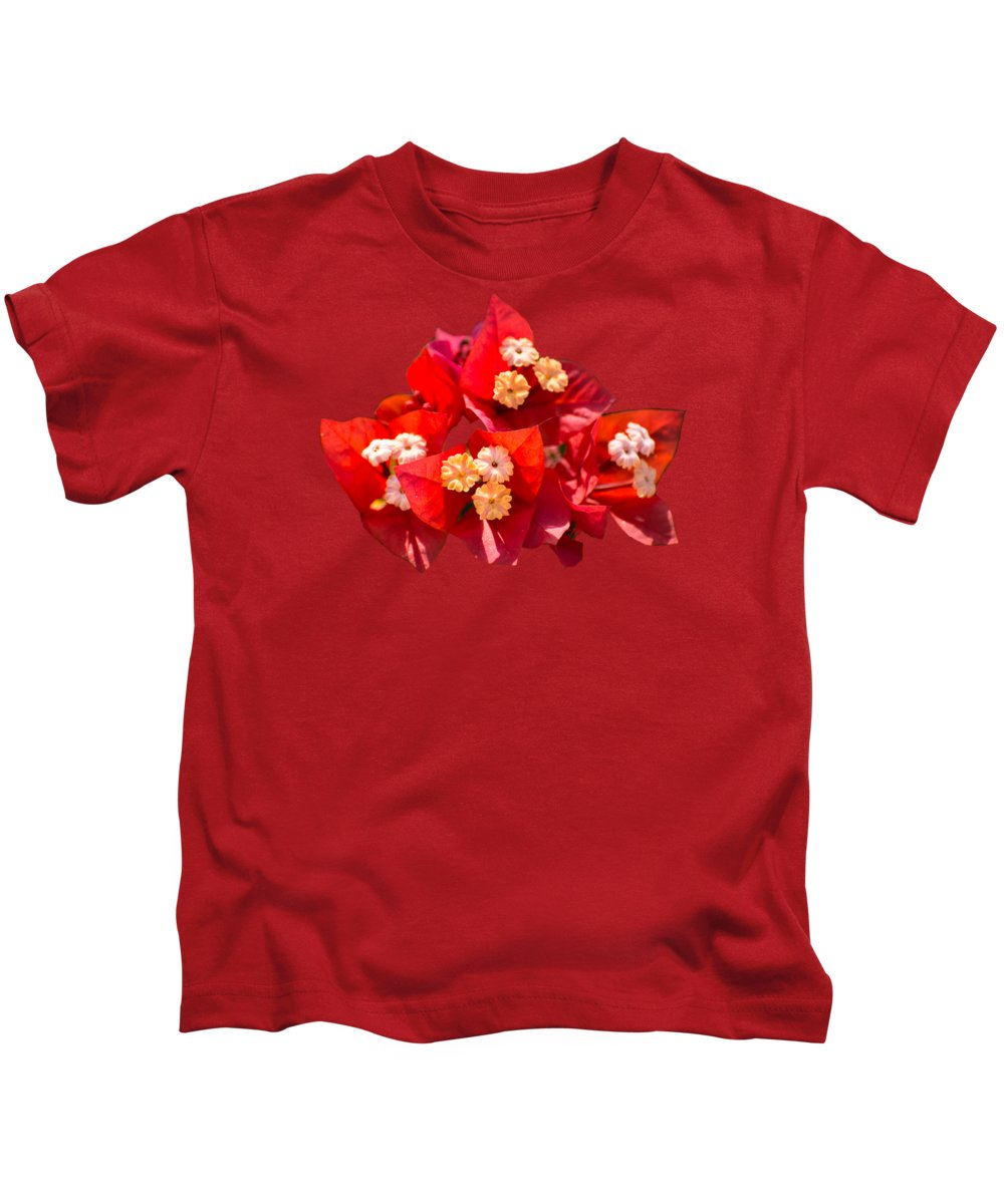 Bougainvillea Kids T-Shirt featuring the photograph Red Bougainvillea by Zina Stromberg