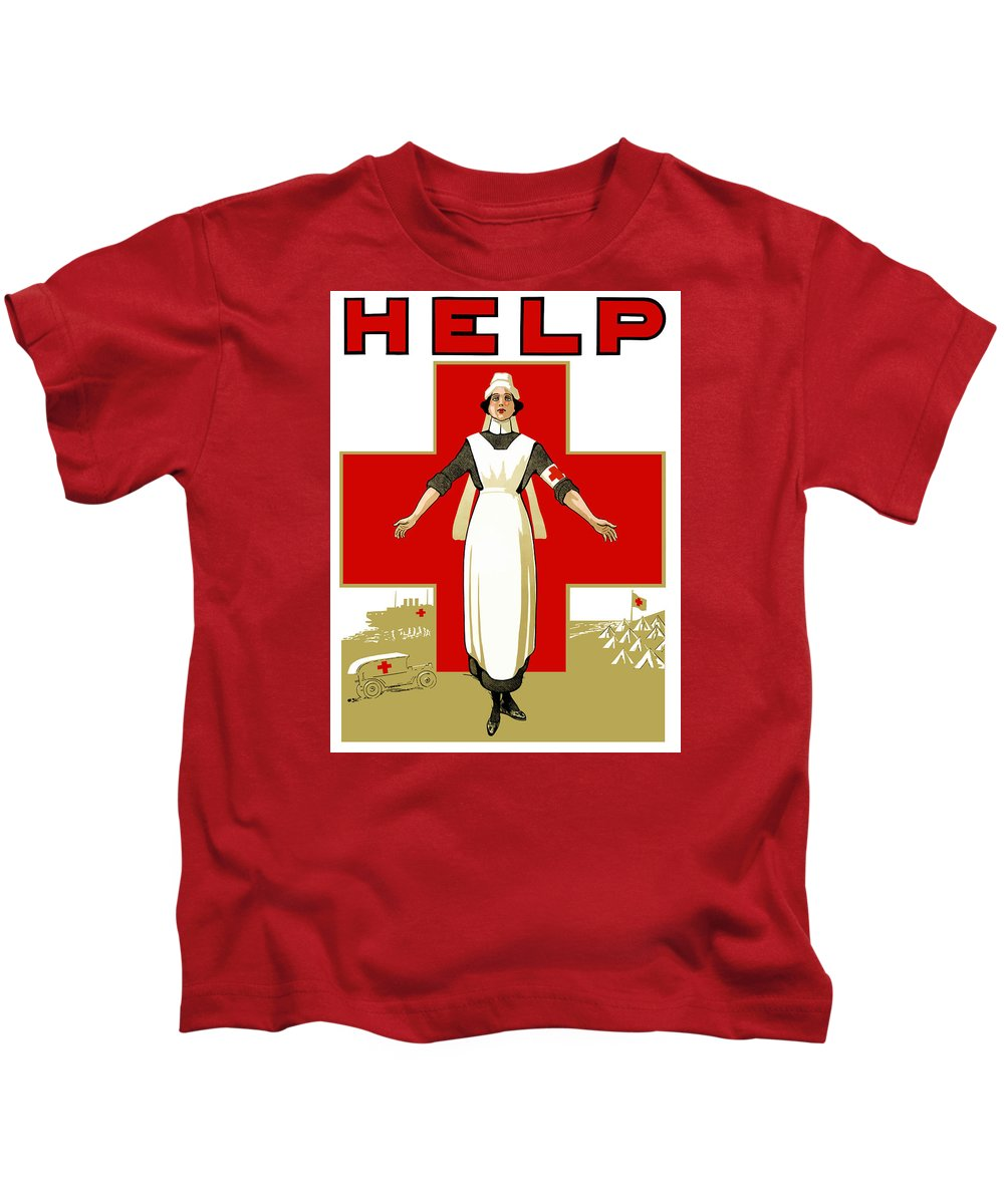 Ww1 Propaganda Kids T-Shirt featuring the painting Red Cross Nurse - Help by War Is Hell Store