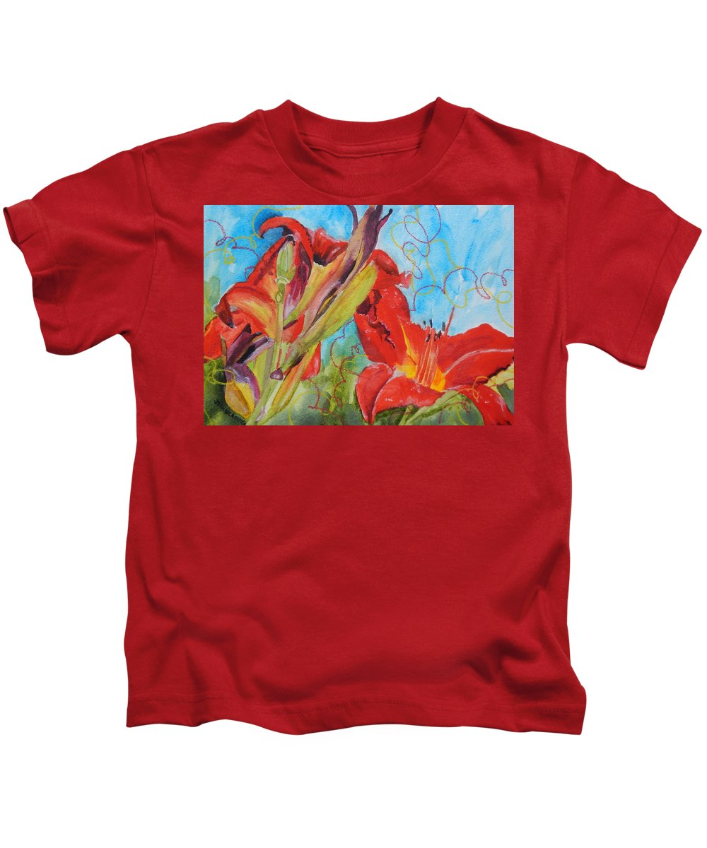 Red Kids T-Shirt featuring the painting Red Day Lilies by Jean Blackmer