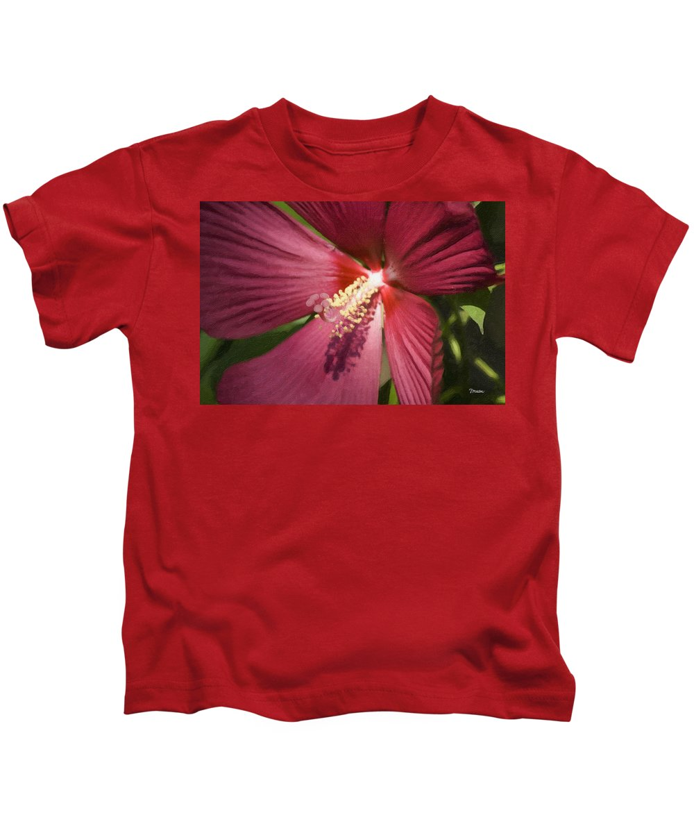 Hibiscus Kids T-Shirt featuring the painting Red Disco Belle Hibiscus Painting by Teresa Mucha